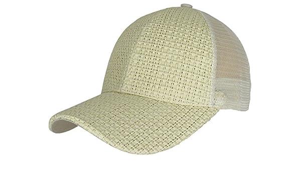 f1550c7caebac Generic Men Women New Wicker Straw Woven Baseball Cap Curved Visor Summer Hat  Snapback (Beige) at Amazon Women s Clothing store
