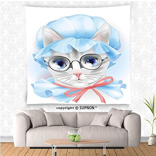VROSELV custom tapestry Cat Lover Decor Collection Granny Grandma Old Kitty with Her Old-Fashioned Pyjamas and Reading Glasses Artsy Bedroom Living Room Dorm Wall Hanging Tapestry Blue Pink - Glasses Francisco Reading San