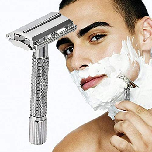 Ashey Double Edge Razor Safety Razor, Men Safety Classic Old Style Chrome Silver Double Edge Shaver, Shaving Blade Straight Razor, Classic Razor for Men and Women for The Perfect Shave