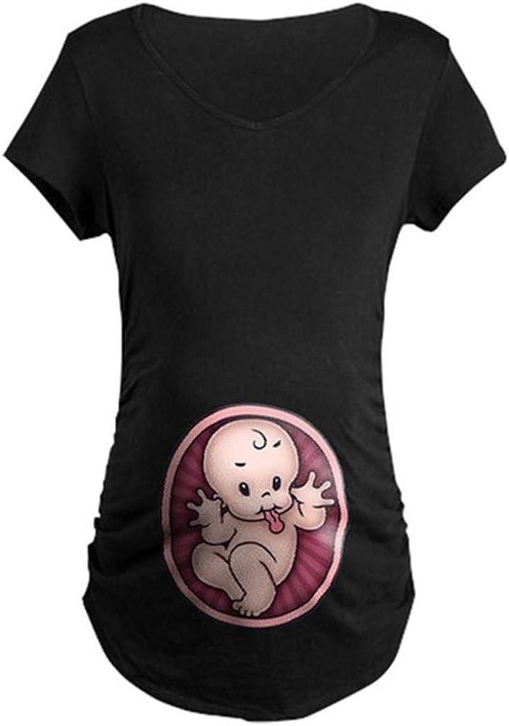 SUDADY Incinta Pr/émaman T-Shirt Divertenti Baby Incinte Sottile Magliette a Maniche Corte Carina Fumetto Gravidanza Camisa Super Vestibilit/à Estate Maternita Felpe Semplice Morbida Regali per Premaman