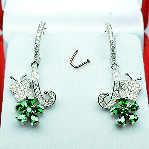 [Total Weight 35.25ct AAA Green Tsavorite Garnet White Sap 925 Silver Earrings] (Tsavorite Green Garnet)