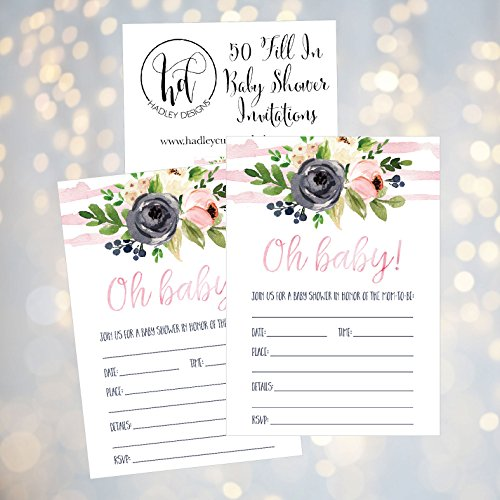 50 Fill in Floral Baby Shower Invitations, Baby Shower Invitations Watercolor, Pink, Neutral, Flower, Blank Baby Shower Invites for girl, Baby Invitation Cards Printable Photo #3