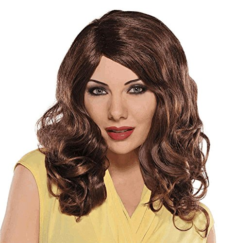 AMSCAN Waves Wig Halloween Costume Accessories, Brown, One Size (Brown Wig Siren)