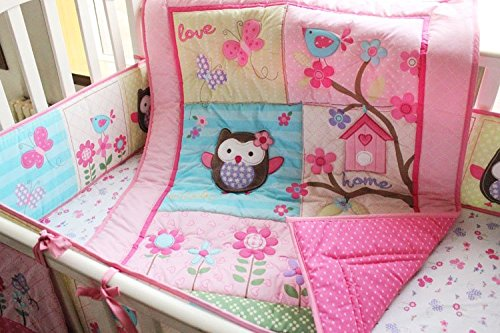 NAUGHTYBOSS Girl Baby Bedding Set Cotton 3D Embroidery Owl Bird Owl TreeTrunk Homes Quilt Bumper Bedskirt Fitted 7 Pieces Pink