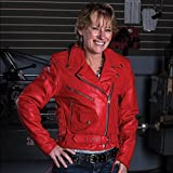 Ladies Red Motorcycle Jacket with Zipout Liner and Side Laces - 2X - AL2122