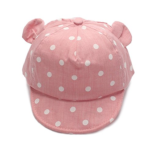 XIAOHAWANG Dot Partten Baby Caps Summer Girl Boys Sun Hat with Ear Spring Summer Newborn Photography Props (Pink) (Baby Ball Cap)