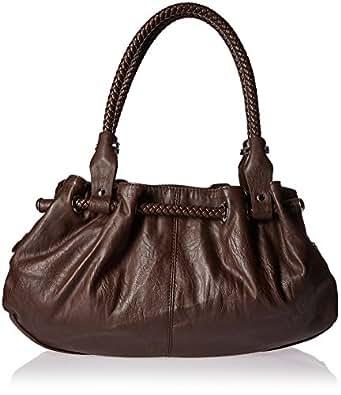 Braided Satchel Hobo Handbag (Dark Brown)