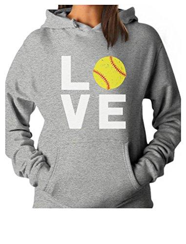 - TeeStars - Love Softball - Gift for Softball Fans Women Hoodie Large Gray