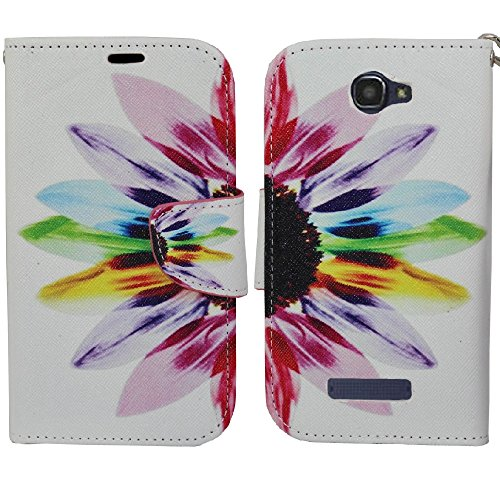 Alcatel OneTouch Fierce 2 Case, SOGA® PU Leather Magnetic Flip Design Wallet Case for Alcatel One Touch Fierce 2 7040T / Pop Icon A564C - Colorful Sunflower [SWG698]