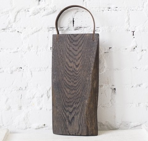 ing Board (Vintage Wood Board, Bread Board, Cheese board) With Leather Handle, Solid Oak Wood (Dark brown) ()