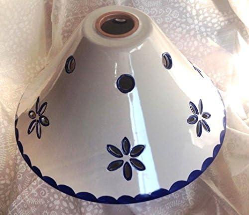 Lámpara de techo de latón con cadena y plato de cerámica con ...