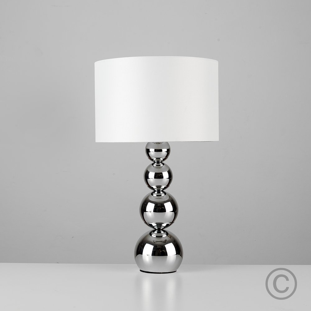 Large modern chrome stacked balls touch table lamp with stunning large modern chrome stacked balls touch table lamp with stunning white faux silk shade amazon kitchen home aloadofball Images