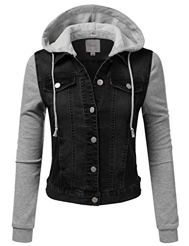 DRESSIS Women's Two Tone Button Down Hooded Denim Jacket Black S - Hooded Denim