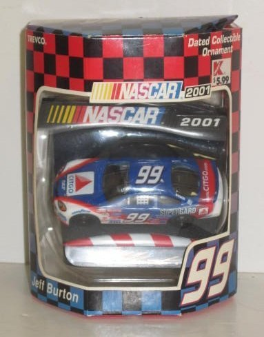 (2001 Nascar Jeff Burton #99 Dated Collectible Christmas Ornament - 1:64 Scale Car on Detailed Base - Out of Production - Retired - Limited Edition )
