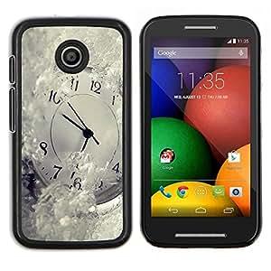 LECELL--Funda protectora / Cubierta / Piel For Motorola Moto E -- Tiempo Metáfora Invierno Blancanieves Ticking --