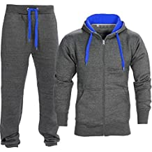 Mens Tracksuit Top Bottom Jogging Set Fleece Hoodie Two Tone Jogger Gym Contrast