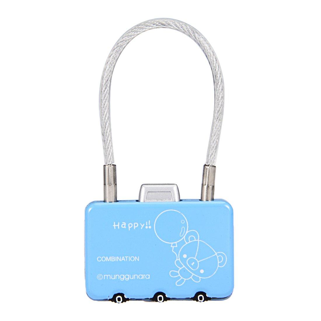 uxcell 3 Digit Association Padlock 3mm Wire Shackle Zinc Alloy Luggage Lock Blue