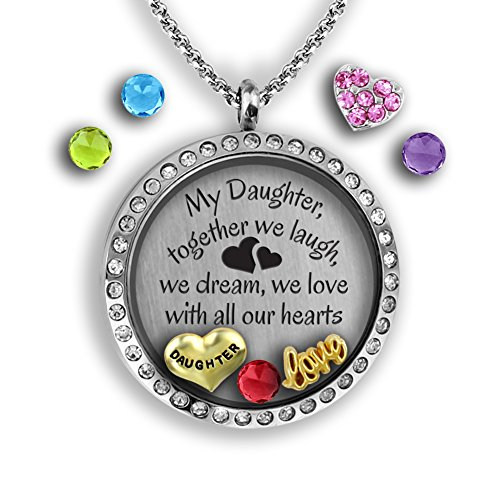 Mother Daughter Gifts - My Daughter Necklace, | Father Daughter Gifts Charm Necklace for Daddys little Girl | Stainless Steel 30mm Authentic Floating Locket Necklace | Memory Locket