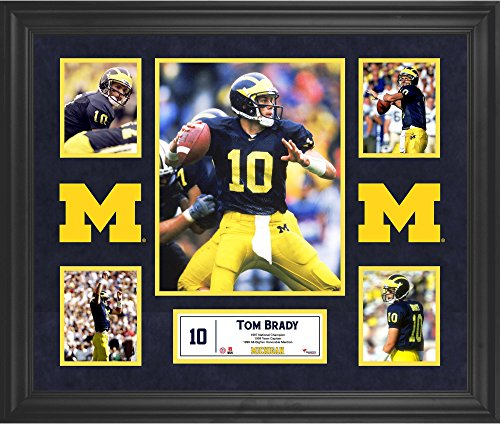 Tom Brady Michigan Wolverines Framed 5-Photo Collage - Fanatics Authentic Certified - College Player Plaques and Collages