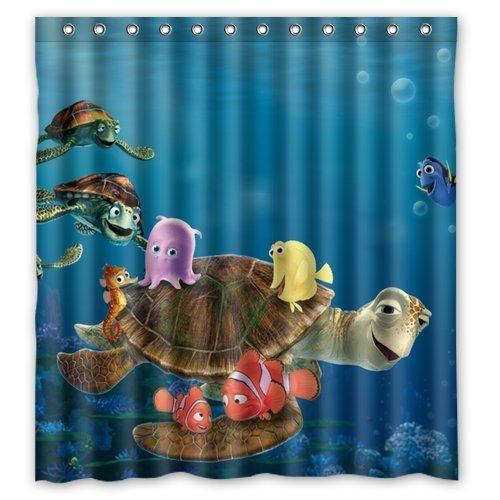 Generic Cute Cartoon Ocean Fish Turtle Pattern Polyester Waterproof Bathroom Curtain 66x72