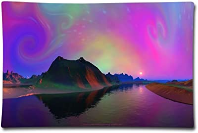 """Pillow Case 20""""X30"""" Fantasy Purple Sky Double Printed 100% Cotton Standard Pillowcases Soft Cover For Decorative Sleeping"""
