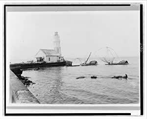 Historic Print (L): Philippines--Manila--Modern lighthouse at the mouth of the Pasig River