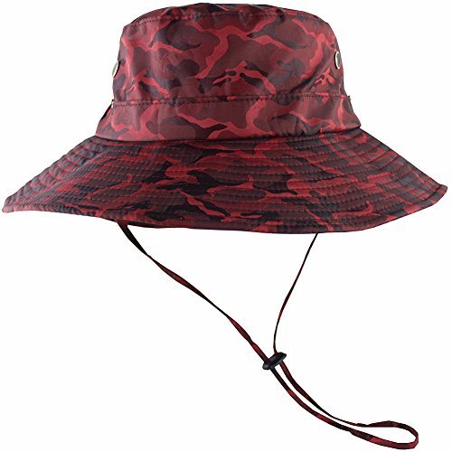 (CAMOLAND Camouflage Outdoor Fishing Boonie Hat with Wide Brim UV Protection Summer Safari Sling Bucket Cap UPF 50+ (Red))