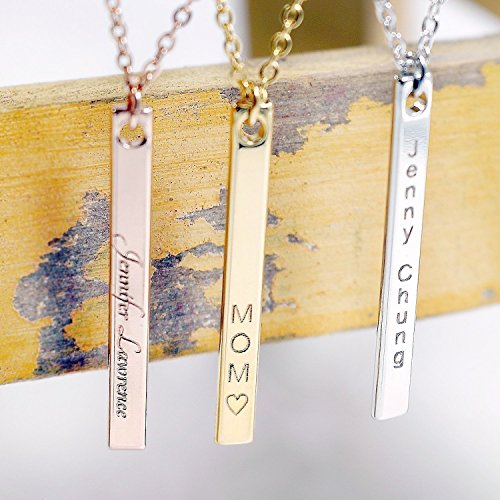 SAME DAY SHIPPING GIFT TIL 2PM CDT Your Name Vertical Bar Personalized Necklace 16K Gold Plated Name Bar Necklace Dainty Hand stamped or Machine Engraving Wedding Bridesmaid Christmas - Police Price Glasses