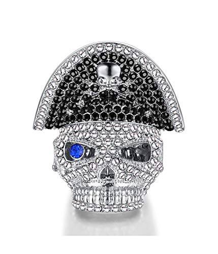 Qiji Men's Alloy Personalized Skull Pirates Ring Womens Pirate Jewelry Costume Party Pirates Rings for Women Alloy Rhinestone Stretch Halloween Jewelry (Silver) ()