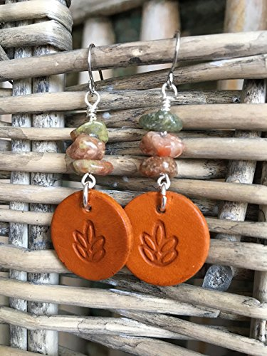 Bohemian Dangle Earrings with Lotus Flower Stamped Leather Disc & Jasper Beads