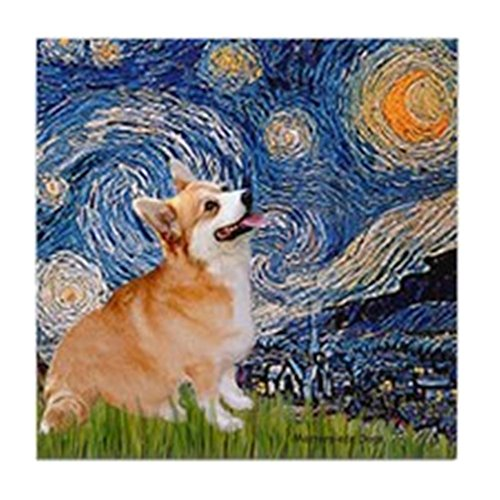 CafePress - Starry Night Corgi Tile Coaster - Tile Coaster, Drink Coaster, Small Trivet ()