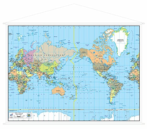 Canvas, Pacific Centered, World Political Map with Sewn In Hanger (44.5 in x 38.5 in)