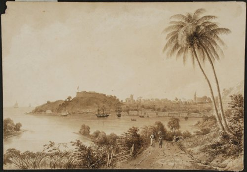 [Grenada] Original signed pencil and wash drawing of the capital of Grenada, St. Georges (Fort George on the promontory, the deep water harbor and the town to the right) by