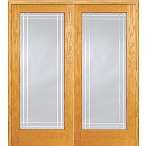 y ZA19981BA Unfinished Pine Wood 1 Lite Perimeter V-Groove Clear Glass, Both Active Prehung Interior Double Door, 60