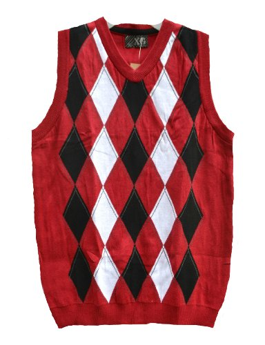 Red Argyle Sweater Vest - 8