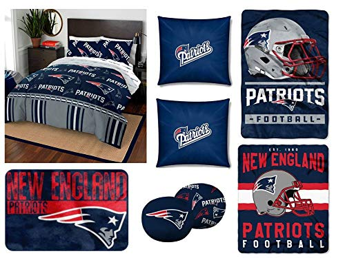 The Northwest Company NFL New England Patriots Full Bedding Set - Includes 1 Full Comforter, 1 Full Flat Sheet, 1 Full Fitted Sheet, 2 Pillowcases, 1 Blanket, 1 Throw, 1 Rug, and 4 Decorative Pillows (Blanket New England Patriots Fleece)