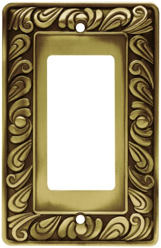 Franklin Brass 64047 Paisley Single Decorator Wall Plate / Switch Plate / Cover, Tumbled Antique (Single Rocker Wall Plate)