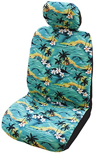 Winnie Fashion Side Airbag Compatible; Green 100 Sunsets Hawaiian Separate Headrest Car Seat Cover; Made in Hawaii; Set of 2