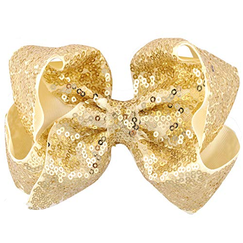 29Color 6 Inch Girls Big Sequin Grosgrain Ribbon Hair Bow Alligator Clips Barrette Bowknot Headwear Children Hair Accessories Light golden