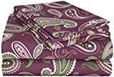 Deep Purple Duvet Cover Sets Superior Premium Cotton Flannel Sheets, All Season 100% Brushed Cotton Flannel Bedding, 4-Piece Sheet Set with Deep Fitting Pockets - Purple Paisley, King Bed