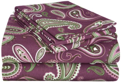 Superior Premium Cotton Flannel Sheets, All Season 100% Brushed Cotton Flannel Bedding, 4-Piece Sheet Set with Deep Fitting Pockets - Purple Paisley, King Bed