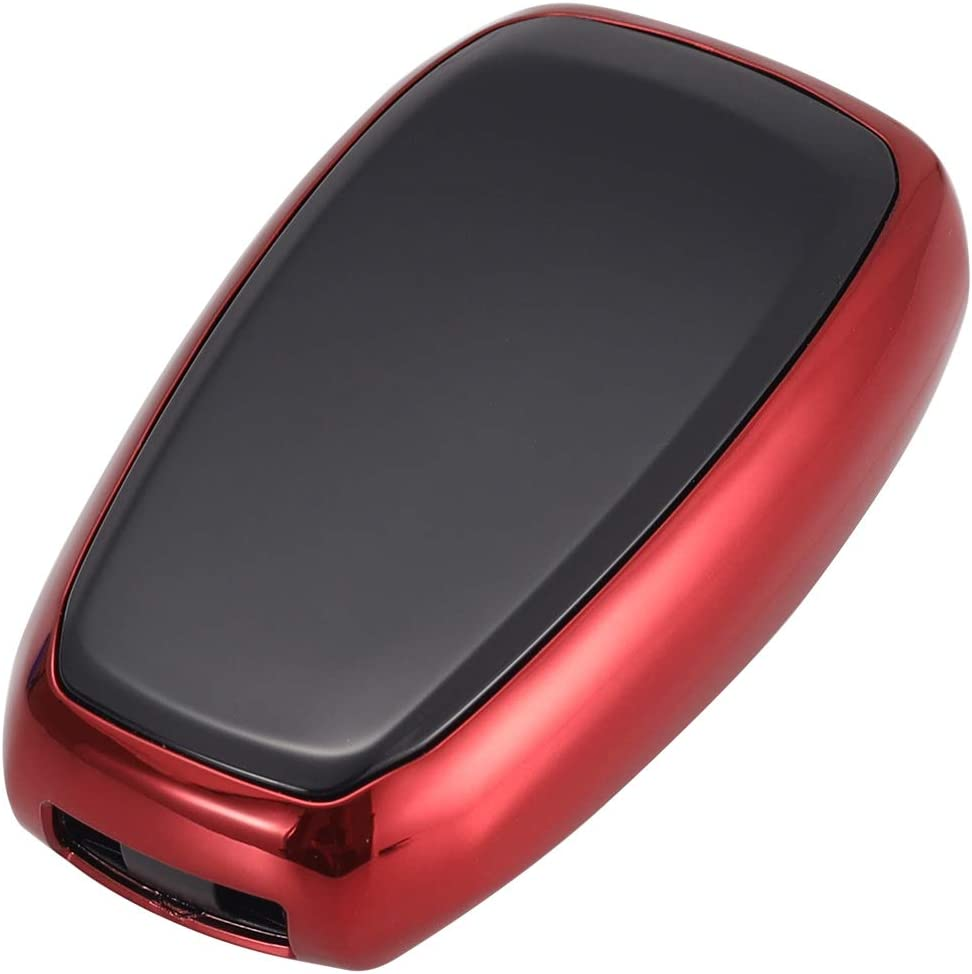 Red Lcyam Key Fob Cover Smooth Glossy Case Fits for 5 Button Subaru WRX Outback Ascent Forester Crosstrek Smart Remote Fob Keys 2018 2019 2020