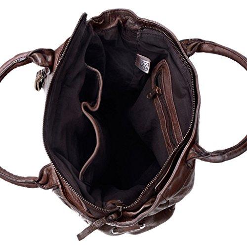 Borsa pelle lavata tinta in capo con doppia lampo frontale DUDU Cocoa Brown