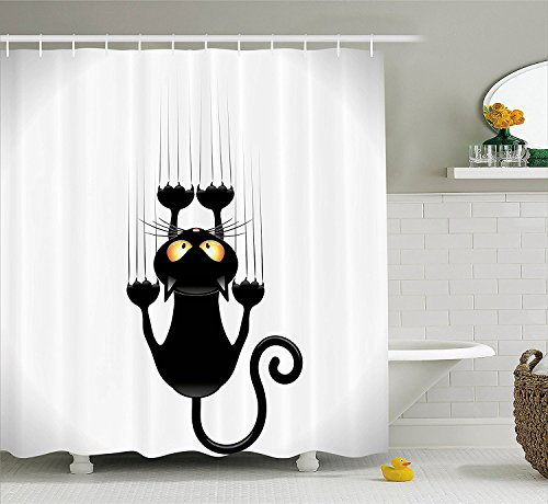 [Funny Decor Collection Naughty Cat Scratching the Wall with His Paws Grumpy Feline Humorous Kitten Graphic Work Polyester Fabric Bathroom Shower Curtain Set Black] (Grumpy Cat Costume Ideas)