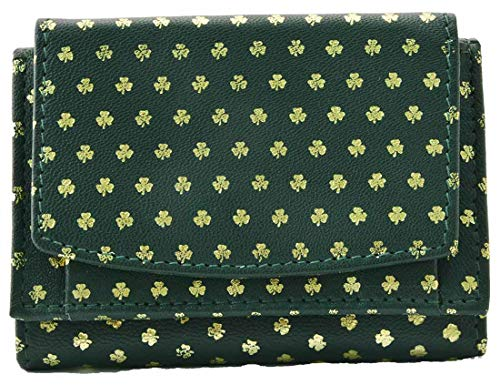 Tinnakeenly Leathers Ladies 3-Zip Purse Wallet With Shamrock Pattern Design ()