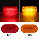 SaiDeng LED Side Marker Lights 4'' Marker Light 6 LEDs Clearance Indicator Light Trailers Truck Bus Pickup Boat Camper Motorhome (7 Red + 5 Amber, Pack of 12)