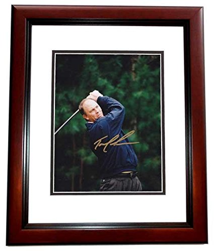 Tom Lehman Memorabilia - Tom Lehman Autographed Picture - 8x10 MAHOGANY CUSTOM FRAME - PSA/DNA Certified - Autographed Golf Photos