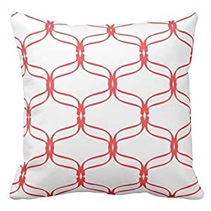 Coral and White Trellis Design Decorative Pillow Case Covers Geometric Lattice Pattern for Sofa Two Sides 16X16 Inch