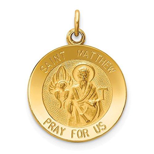 (14k Yellow Gold Saint Matthew Medal Pendant Charm Necklace Religious Patron St Fine Jewelry For Women Gift Set)