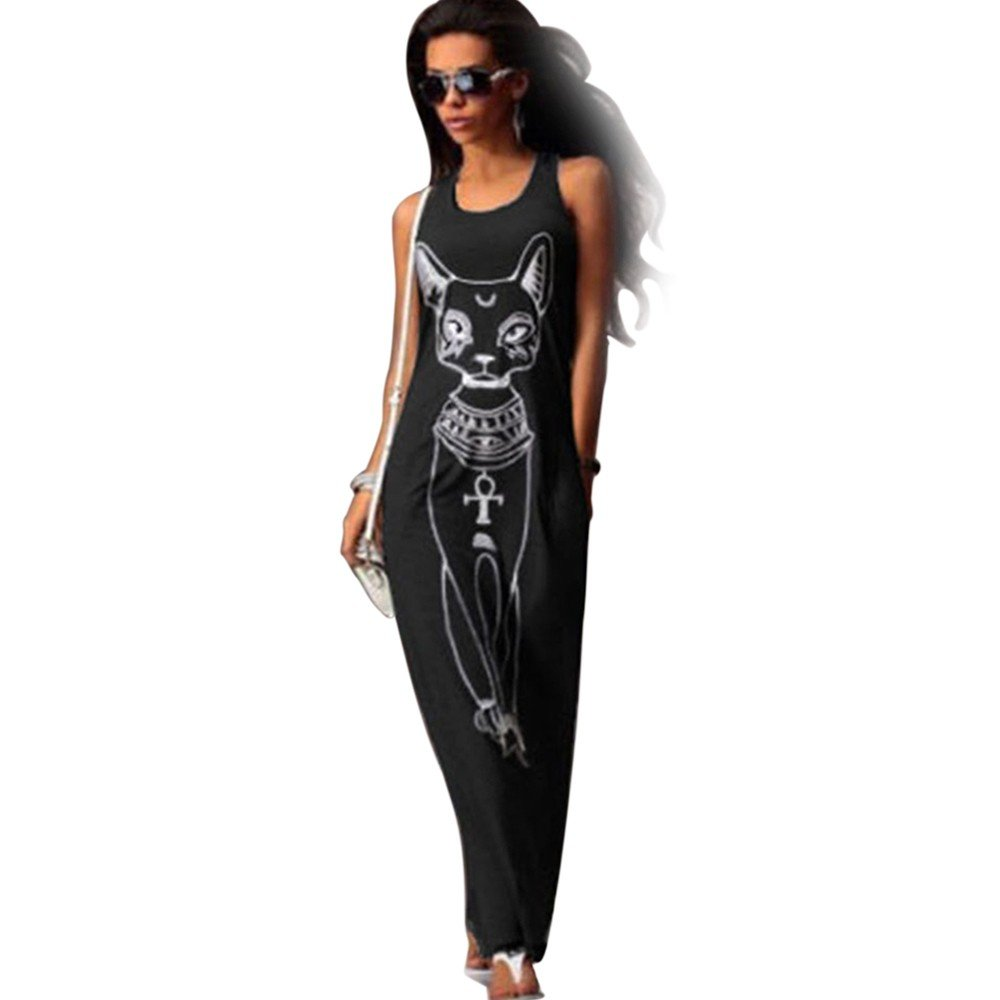 iLUGU U-Neck Sleeveless Maxi Dress for Women Egyptian Guardian Cat Print Dress Long Dress Black